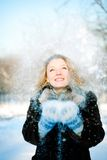 Winter Girl With Many Snowflakes Royalty Free Stock Photography
