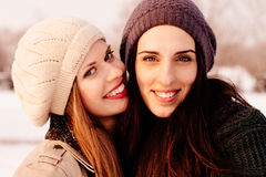Winter girlfriends portrait Stock Photography