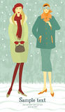 Winter girls card Royalty Free Stock Photography