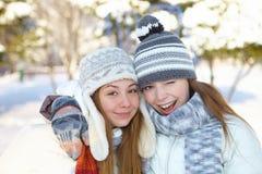 Winter. Girls outdoor. Stock Photo