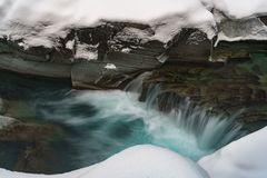 A Winter in Glacier National Park Stock Image