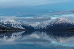 A Winter in Glacier National Park Stock Photo