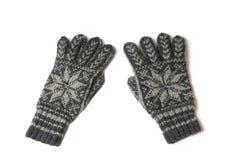 Winter gloves. Knittet winter gloves on white background Stock Images