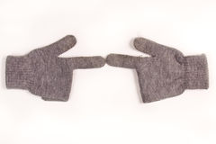 Winter gloves. Set of two winter gloves isolated on white Royalty Free Stock Photography