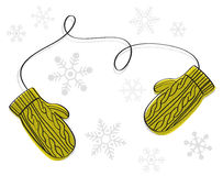 Winter gloves. Illustration of winter mittens gloves isolated on white background with snowflakes vector illustration