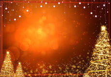 Winter gold christmas tree background Royalty Free Stock Photo