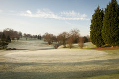 Winter Golf Course. A golf course drapped in winter frost in the UK Stock Image