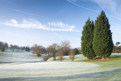 Winter Golf Course. A golf course drapped in winter frost in the UK Stock Images