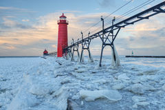 Winter, Grand Haven Lighthouse Royalty Free Stock Images