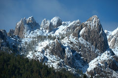 Winter granite mountain tops. Winter wonderland of snow-capped granite peaks, Castle Crags State Park, California royalty free stock photos