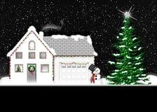 Winter Graphic - Christmas Lights - House - Snowman Stock Photos