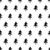 Winter graphic seamless pattern with hand drawn christmas trees vector illustration