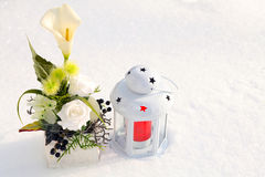 Winter grave decorations Royalty Free Stock Image