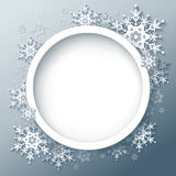 Winter gray background with 3d snowflakes. Winter gray background with 3d ornate snowflakes. Winter round frame. New Year and Christmas celebratory card with Stock Image