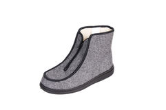 Winter gray boot on a white. Royalty Free Stock Photos