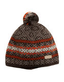 Winter gray knitted cap with an orange pattern. Stock Photos