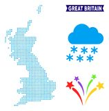 Icy Great Britain Map. Winter Great Britain map. Vector geographic scheme in blue winter colors. Vector collage of Great Britain map constructed of snow flakes vector illustration