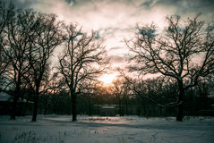 Winter - a great time. Beautiful winter landscape with unusual clouds Stock Photo