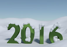 Winter 2016. Green steel 2016 with snow on a winter landscape vector illustration