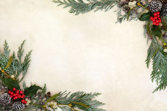 Winter Greenery Border. Winter and christmas background border with holly, ivy, mistletoe, snow covered  cedar cypress and pine cones on old parchment paper Royalty Free Stock Photo