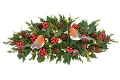 Winter Greenery with Robin Decoration royalty free stock photography