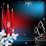 Winter greeting with candles. Abstract colorful illustration with red candles, white fir branch, fir tree shapes, thin stripes and various snowflakes. Winter Royalty Free Stock Photo