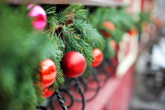 Winter greeting card. Balls on fir branches. Greeting card. Winter Stock Photos
