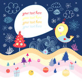 Winter greeting card with a bird Royalty Free Stock Photo