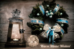 Winter greeting card with caption Stock Photo