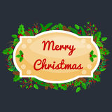 Winter greeting card, Christmas holiday banner with decoration ribbons and xmas jingle bells. merry christmas template.  Royalty Free Stock Photos