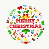 Winter greeting card, Christmas holiday banner with decoration ribbons and xmas jingle bells. merry christmas template.  Royalty Free Stock Image