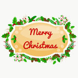 Winter greeting card, Christmas holiday banner with decoration ribbons and xmas jingle bells. merry christmas template.  Royalty Free Stock Photography