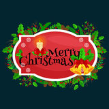 Winter greeting card, Christmas holiday banner with decoration ribbons and xmas jingle bells. merry christmas template.  Stock Image