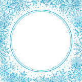 Winter Greeting Card. Winter frame with arabesques and snowflakes. Fine greeting card. Light blue and white pattern Stock Image