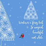 Winter greeting card with frozen fir Royalty Free Stock Photos