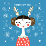Winter greeting card with a girl Royalty Free Stock Photography