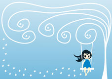 Winter Greeting Card with Girl on a Swing Stock Images