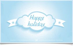 Winter greeting card happy holidays with Cloud. Winter greeting card with 3D cloud and lettering HAPPY HOLIDAYS on textured light blue background. abstract Stock Illustration