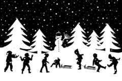 Winter greeting card with kids playing in the sn. Black and white winter greeting card with kids playing in the snow vector illustration