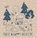 Winter greeting card with sign and snow. Royalty Free Stock Photography