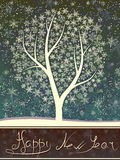 Winter greeting card of snowfall with snow tree. Stock Photography