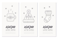 Winter greeting card template with 2017 sign and decorations. Collection of Winter greeting card template with winter symbols hot tea, warm knitted sock and Royalty Free Stock Image