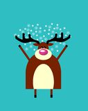 Winter greeting from Happy deer Stock Photo