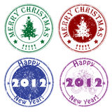 Winter greetings stamps Royalty Free Stock Photos