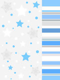 Winter grey design. Winter stars and snow flakes in white and blue colors on grey background Vector Illustration