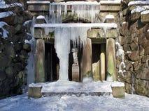Winter grotto in park. Man-made grotto of Venus in winter park Sofievsky Stock Image