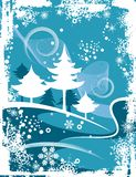 Winter grunge background. Abstract winter grunge background with pine trees,  illustration series Royalty Free Stock Photos