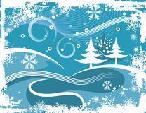 Winter grunge background. Abstract winter grunge background with pine trees,  illustration series Stock Photography