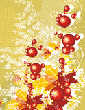Winter grunge background. Winter holiday background with snowflakes, leaves and ribbons,  illustration in yellow and red colors Royalty Free Stock Photography