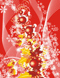 Winter grunge background. Winter holiday background with snowflakes, leaves and ribbons,  illustration in red and yellow colors Stock Photos